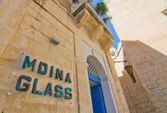 Mdina exponeringsglastecken Arkivbilder