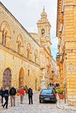 People at Palazzo Santa Sofia in Mdina Malta. Mdina, Malta - April 4, 2014: People at Palazzo Santa Sofia in Mdina, Malta Stock Images