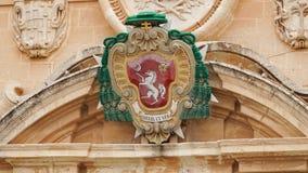 Mdina - MALTA Architecturale details van St Paul ` s Kathedraal in de stad van Mdina Mdina is een populaire toeristenbestemming i Stock Foto's