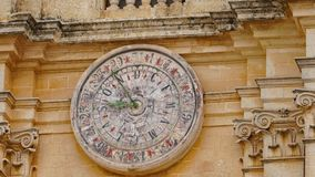 Mdina - MALTA. Astronomical clock of St Paul`s Cathedral in Mdina City. Mdina is populer tourist destination in Malta. Mdina - MALTA. Astronomical clock of St Stock Image