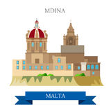 Mdina in Malta Europe flat vector attraction sight landmark. Mdina in Malta. Flat cartoon style historic sight showplace attraction web site vector illustration Royalty Free Stock Images