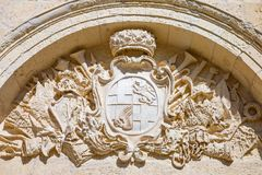 Malta island, history and nature. Mdina,  Malta - February 4, 2017: Decorations of the main gate of the fortified medieval walls of the town Stock Images