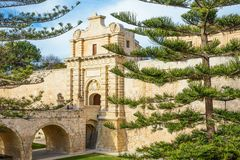 Malta island, history and nature. Mdina,  Malta - February 4, 2017: The main gate of the fortified medieval walls of the town Stock Images