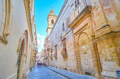 The streets of Mdina fortress, Malta royalty free stock photo