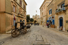 Mdina, Malta, street view. Mdina city street view. It is a fortified city in the Northern Region of Malta, which served as the island's capital from antiquity to Royalty Free Stock Images