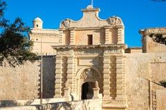 Mdina miasta brama stara forteca Malta Zdjęcie Royalty Free