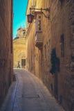 Mdina miasta ulicy - Malta Sławne wąskie ulicy w starym cit Fotografia Stock