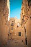 Mdina miasta ulicy - Malta Sławne wąskie ulicy w starym cit Fotografia Royalty Free