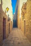 Mdina miasta ulicy - Malta Sławne wąskie ulicy w starym cit Zdjęcia Royalty Free