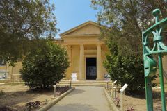 Mdina Rabat, Malta - August 04 2016: Domvs Romana museum facade. Day view of entrance to Roman ruins aristocratic house museum wit. H mosaics Royalty Free Stock Photos