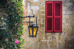 Mdina, Shutters and Lamp Stock Images