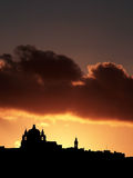 Mdina Silhouette. Mdina, medieval silent city of Malta, silhouetted against sky at dusk Stock Photography