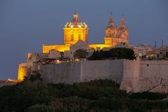 Mdina at Sunset. The Mdina skyline kissed by the last of the sun`s rays at sunset royalty free stock image