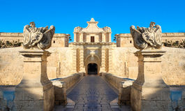 Mdina-Stadttore Alte Festung malta lizenzfreie stockbilder