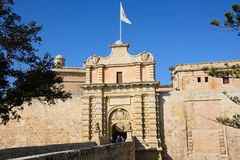 Mdina town gate, Malta. Stock Image