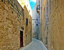 Mdina, ulica, Średniowieczny miasto, Malta zdjęcie stock
