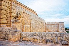 Mdina walls into fortified old city in Malta. Mdina walls into the fortified old city in Malta Stock Photo