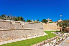 Mdina walls in fortified old city Malta. Mdina walls in the fortified old city, Malta Stock Photo