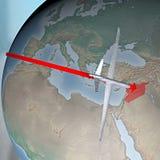 Médio Oriente como visto do espaço, zangão Fotografia de Stock Royalty Free
