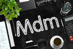 Mdm on Black Chalkboard. 3D Rendering. stock photography