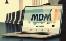 Mdm - on Laptop Screen. Closeup. 3D Illustration. Stock Photo