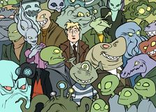 Me among aliens. Illustration of a human person in a crowd of different aliens Royalty Free Stock Photo