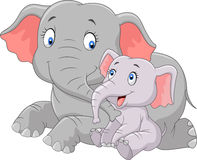 Mãe bonito dos desenhos animados e elefante do bebê Foto de Stock