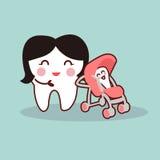 Mãe dos desenhos animados e dente de bebê Foto de Stock Royalty Free