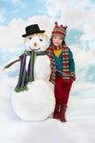 Me en mijn sneeuwman Royalty-vrije Stock Foto's