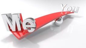 Me en u bij overkanten van een evenwichtige bar - het 3D teruggeven Stock Afbeeldingen