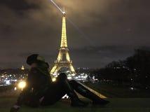 Me en van Eiffel Toren Stock Fotografie