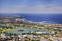 Me Eureka St Kilda West. Melbourne St Kilda coastline with beach to Port Philip bay and ALbert Park lake in an aerial view from Eureka skyscraper Stock Photos