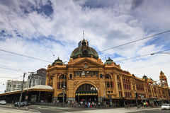 Me Flinders Front. Melbourne city historic building Flinders station railway victoria colonial style yellow bricks stock image