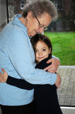 Me and grandma. Grandmother and granddaughter embrace each other Royalty Free Stock Images