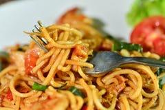 Me gusta la comida deliciosa de los espaguetis Imagen de archivo