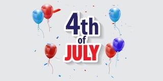4?me heureux de la banni?re de vacances de juillet Jour de la D?claration d'Ind?pendance des Etats-Unis images stock