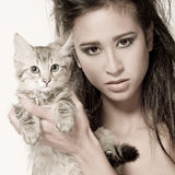 Me and the kitty royalty free stock photography