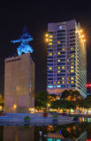 The Me linh square and buildings around at night in Hochiminh city Stock Photography