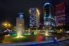 The Me linh square and buildings around at night in Hochiminh city Stock Images