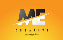 ME M E Letter Modern Logo Design with Yellow Background and Swoo. ME M E Letter Modern Logo Design with Swoosh Cutting the Middle Letters and Yellow Background Royalty Free Stock Images
