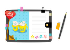 Me and mom cats with love blue notebook. Vector Stock Photography
