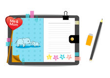 Me and mom elephants with love blue notebook Stock Photography