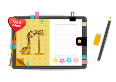 Me and mom giraffes with love yellow notebook Royalty Free Stock Images