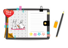 Me and mom rabbits with love pink notebook Stock Image