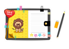 Me and mon lion with love yellow notebook Stock Image