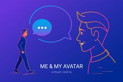 Me and my avatar for virtual reality communication and 3D video chat. royalty free stock photos