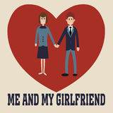 Me and my girlfriend. Lovers t-shirt. Me and my girlfriend. You and i heart - vector Royalty Free Stock Image