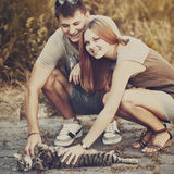 Me, my girlfriend and my cat. Royalty Free Stock Photo