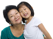 Me and my grandmother. Asian grandmother and grandchild on white background Royalty Free Stock Photo