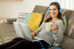 Me my laptop, coffee and music Royalty Free Stock Photography